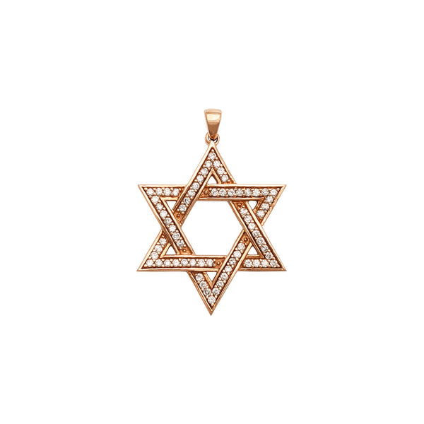 Diamond Star of David Pendant (14K) front - Popular Jewelry - New York