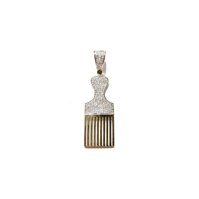 Afro Pick Comb Pendant (14K) front - Popular Jewelry - New York