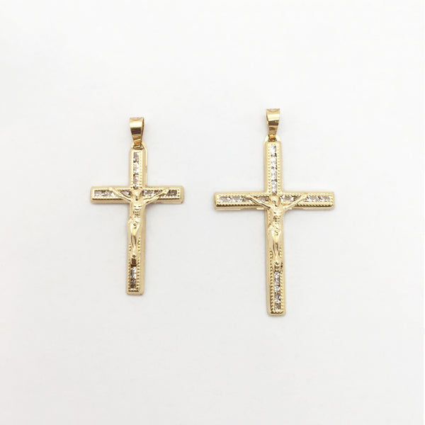Crucifix CZ Milgrain Pandantiv (14K) principal - Popular Jewelry - New York