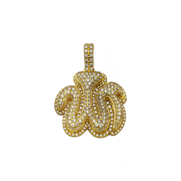 Diamond Iced-Out Allah Pendant (14K) front - Popular Jewelry - New York