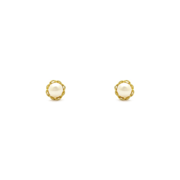 Entwined Pearl Stud Earrings (14K) front - Popular Jewelry - New York