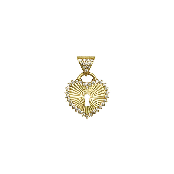 Gleaming Hearty Lock Pendant (14K) front - Popular Jewelry - New York