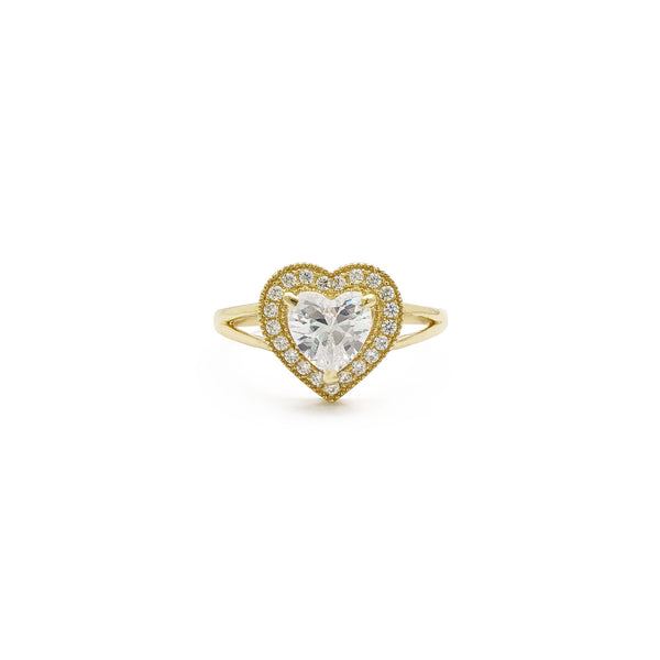 Halo Heart Split Shank Ring (14K) front - Popular Jewelry - New York