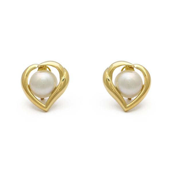 Heart Outlined Pearl Earrings (14K) front - Popular Jewelry - New York