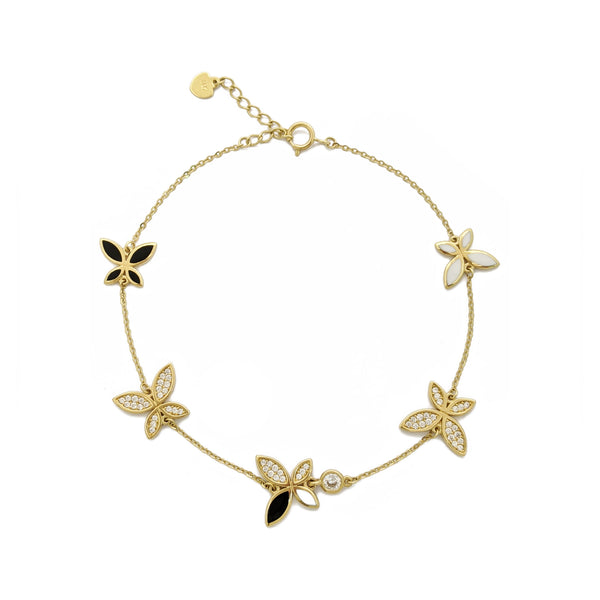 Bracelet papillon monochrome glacé (14K) devant - Popular Jewelry - New York