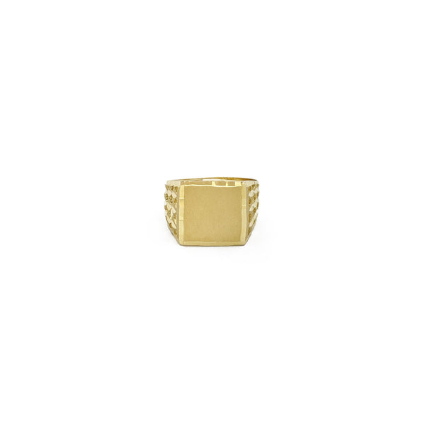 Matte Square Signet Ring (14K) front - Popular Jewelry - New York