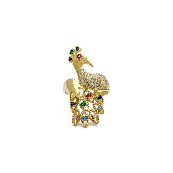 Peafowl Ring (14K) front - Popular Jewelry - New York