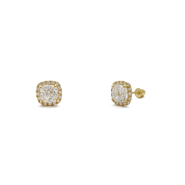 Radiant-Cut Cushion Halo Stud Earrings (14K) main - Popular Jewelry - New York