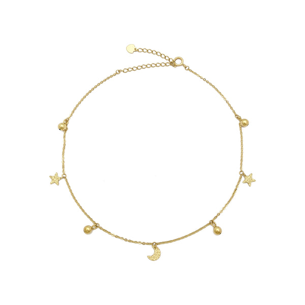 Starry Moon Night Charm Anklet (14K) front - Popular Jewelry - New York