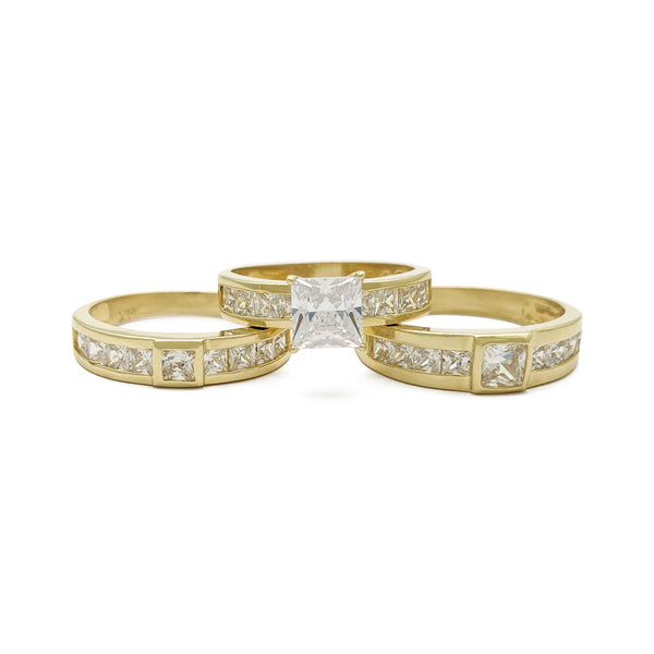 Conjunto de tres anillos de boda Princess Cut Channel Engagement Wedding (14K) principal - Popular Jewelry - Nueva York