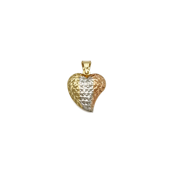 Tri-Color Sparkly Heart Privjesak (14K) sprijeda - Popular Jewelry - Njujork