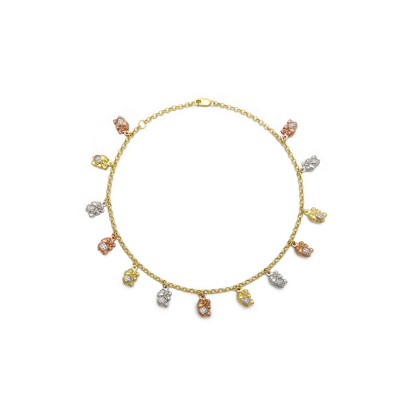 Elephant Charm Tri-Color Anklet (14K) front - Popular Jewelry - New York