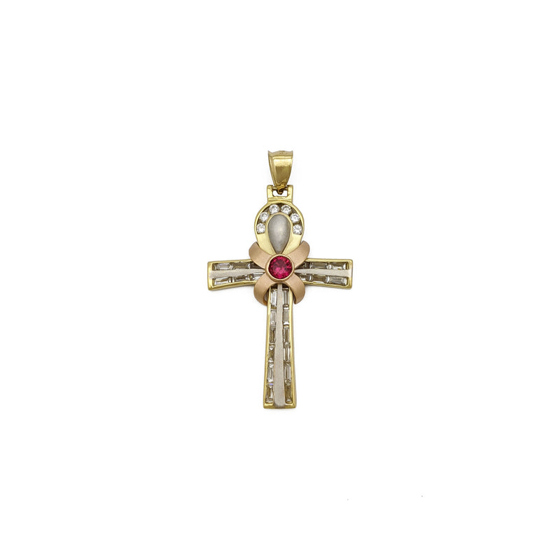 Pendente Ankh tricolore decorato (14K) frontale - Popular Jewelry - New York