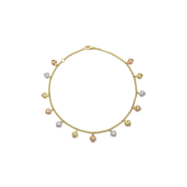 Heart Charm Tri-Color Anklet (14K) foarút - Popular Jewelry - New York