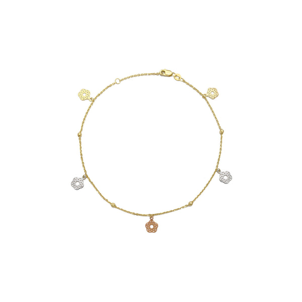 Lotus Tri-Color Flower Cable Anklet (14K) front - Popular Jewelry - New York
