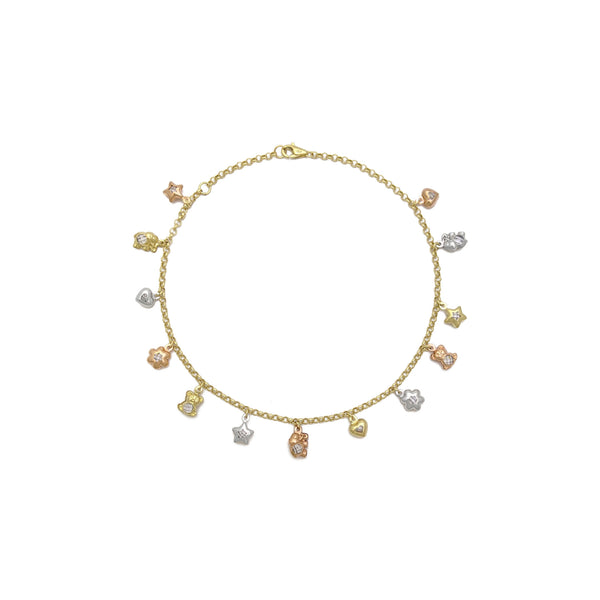 Tri-Color Lovely Charms Anklet (14K) front - Popular Jewelry - New York