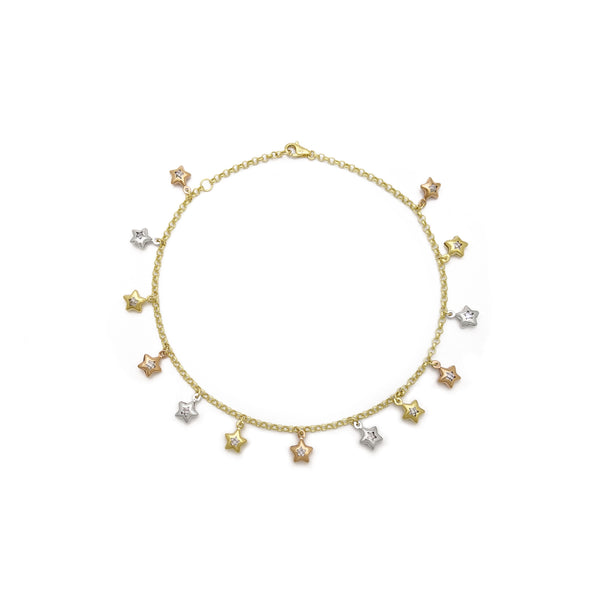 Star Charm Tri-Color Anklet (14K) front - Popular Jewelry - New York