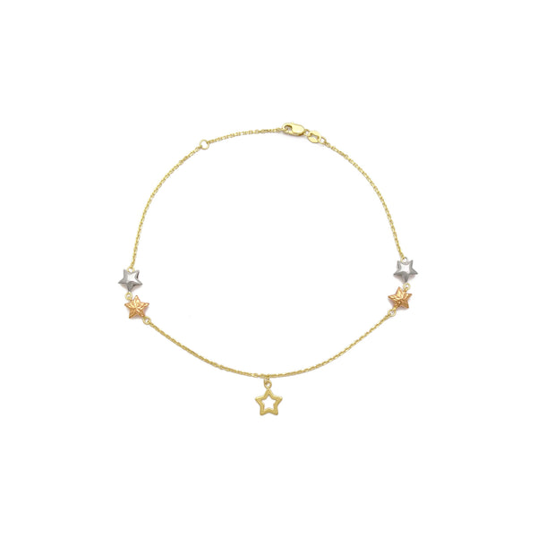 Stars Tri-Color Cable Anklet (14K) front - Popular Jewelry - New York