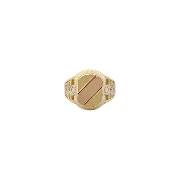 Tri-Color Diagonal Regal Signet Ring (14K) front - Popular Jewelry - New York