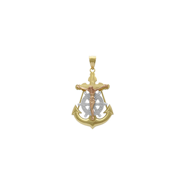 Tri-Tone Mariner's Crucifix Anchor Pendant (14K) kumberi - Popular Jewelry - New York
