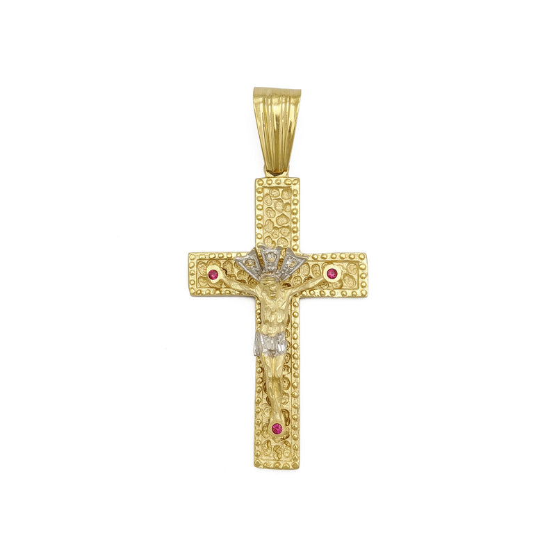 Crucifixion Two-Toned Pendant (14K) front - Popular Jewelry - New York