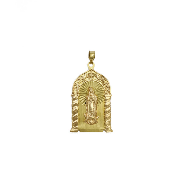 Guadalupe Virgin twa-toned Shrine Pendant (14K) front - Popular Jewelry - New York