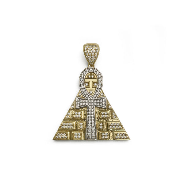 Pandantiv cu piramidă glaciară Ankh (14K) față - Popular Jewelry - New York