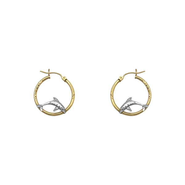 Jumping Dolphins Hoop Earrings pequeño (14K) frente - Popular Jewelry - Nueva York