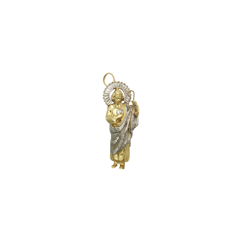 Radiant Saint Jude Two-Toned Pendant small (14K) front - Popular Jewelry - நியூயார்க்