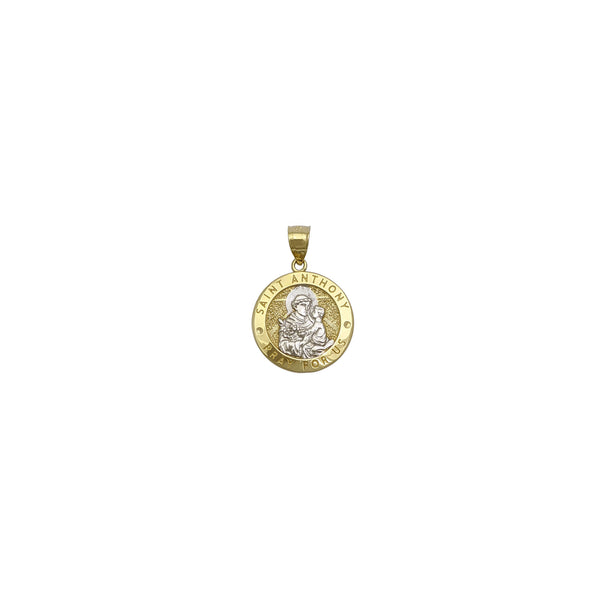 Saint Anthony Round Medallion Pendant (14K) front - Popular Jewelry - New York
