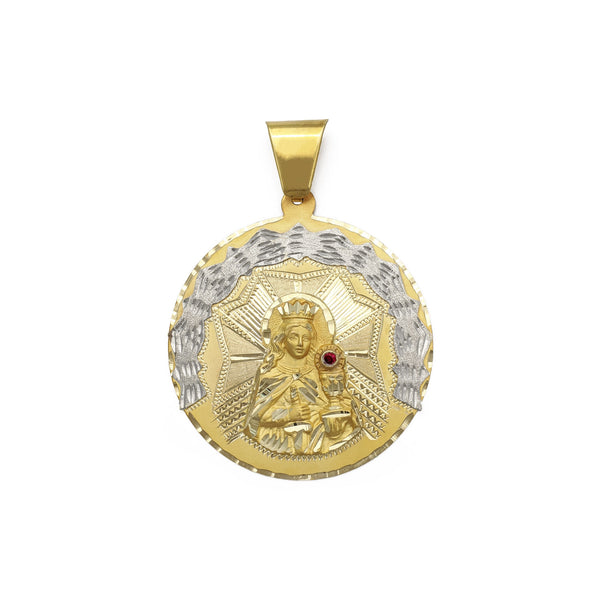 Saint Barbara Diamond Cut Medallion Pendant (14K) front - Popular Jewelry - New York