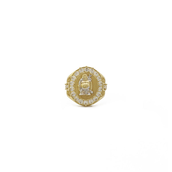 Dvotonski Buddha Signet Ring (14K) spredaj - Popular Jewelry - New York