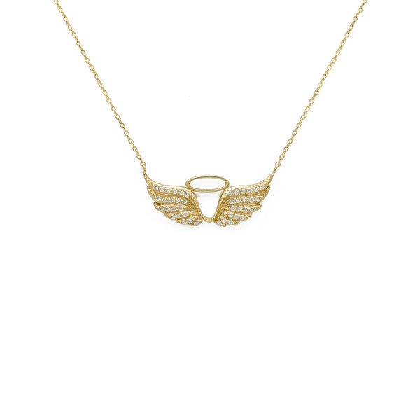 Angel Halo and Wings Charm Necklace amarelo (14K) na frente - Popular Jewelry - New York