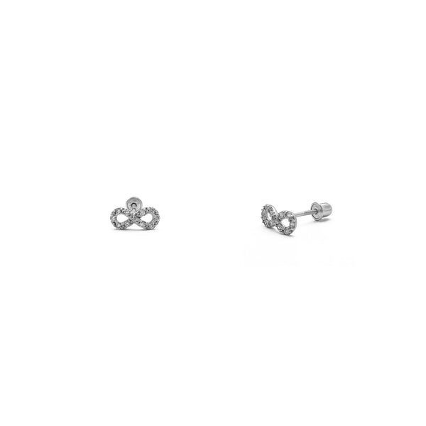 Iced-Out Infinity Stud Earrings (14K) aðal - Popular Jewelry - Nýja Jórvík