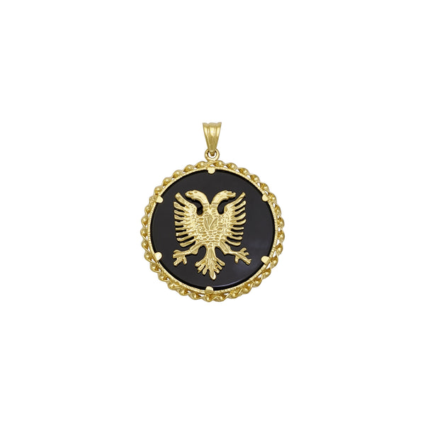 Albanian Eagle Onyx Medallion Pendant (14K) front - Popular Jewelry - New York