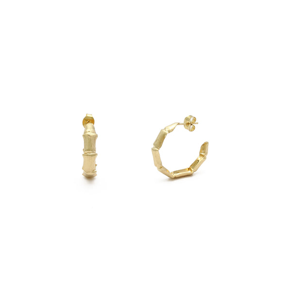 Bamboo Whisper Hoop Earrings (14K) main - Popular Jewelry - New York