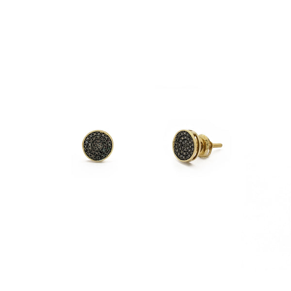Black Diamond Round Cluster Stud Earrings (14K) main - Popular Jewelry - New York