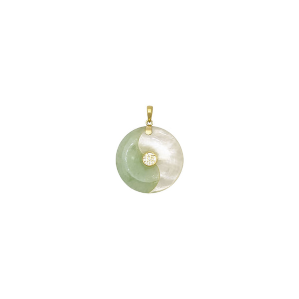 Blessed Yin Yang Green Jade and Mother of Pearl Pendant (14K) front - Popular Jewelry - New York