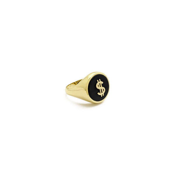Sinal de dólar Black Onyx Signet Ring (14K) na frente - Popular Jewelry - New York