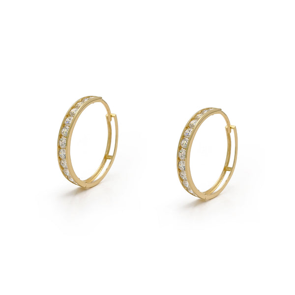Eternity Hinged Hoop Earrings (14K) main - Popular Jewelry - New York