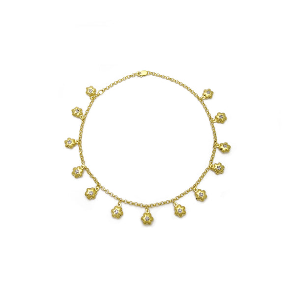 Flower Charm Anklet (14K) front - Popular Jewelry - New York
