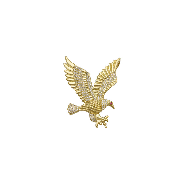 Flying Red-Eyed Eagle Pendant large (14K) front - Popular Jewelry - New York