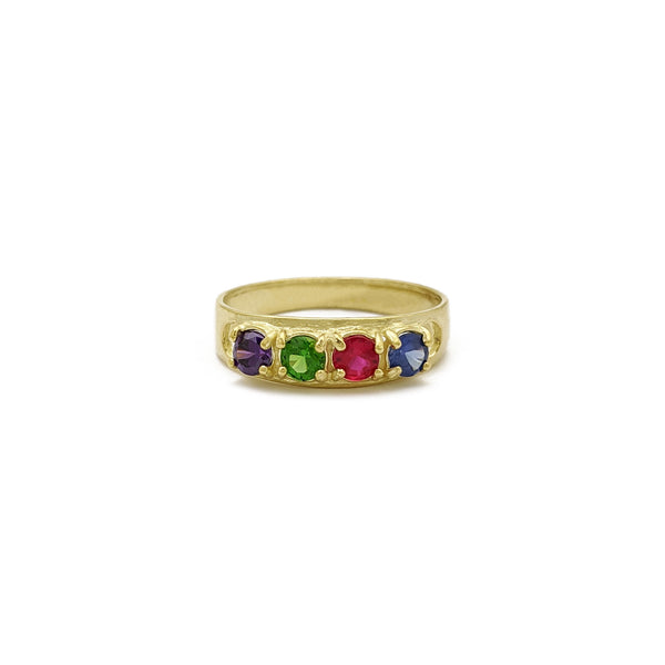 Four Birthstones Mom Ring (14K) front - Popular Jewelry - New York