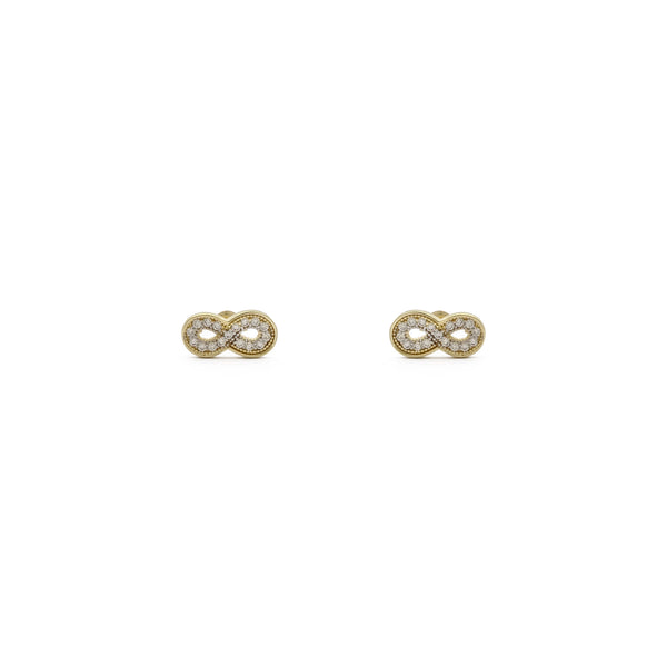 Iced Infinity Stud Earrings (14K) foaroan - Popular Jewelry - New York