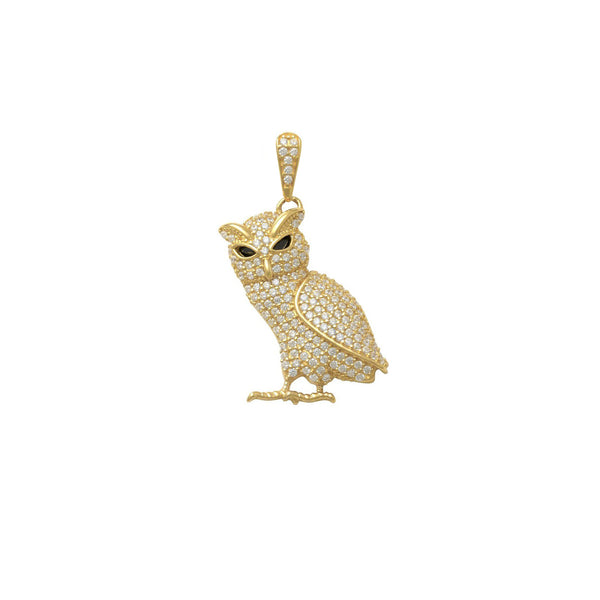 Iced-Out Black-Eyed Owl Pendant (14K) front - Popular Jewelry - New York