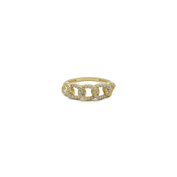Iced-Out Curb Link Ring (14K) front - Popular Jewelry - New York