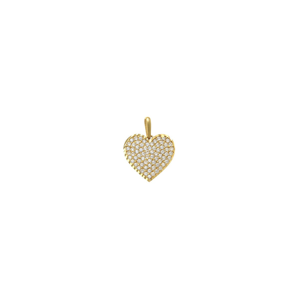 Iced-Out Heart Pendant yellow (14K) front - Popular Jewelry - New York