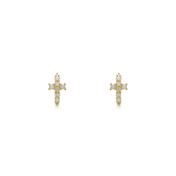 Icy Cross Prong-Set Huggie earrings (14K) hore - Popular Jewelry - New York