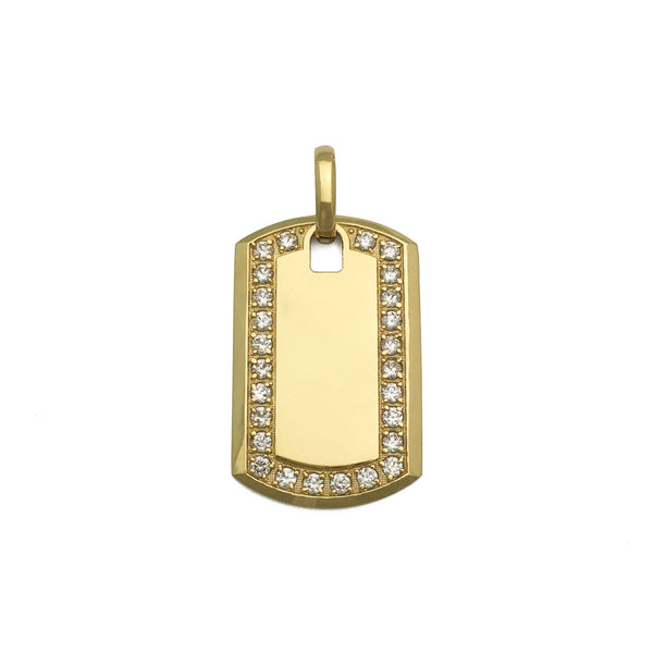 Icy Dog Tag Pendant (14K) frente - Popular Jewelry - New York