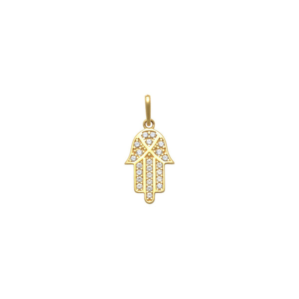 Pendente a Mano Hamsa Ghiacciato (14K) davanti - Popular Jewelry - New York